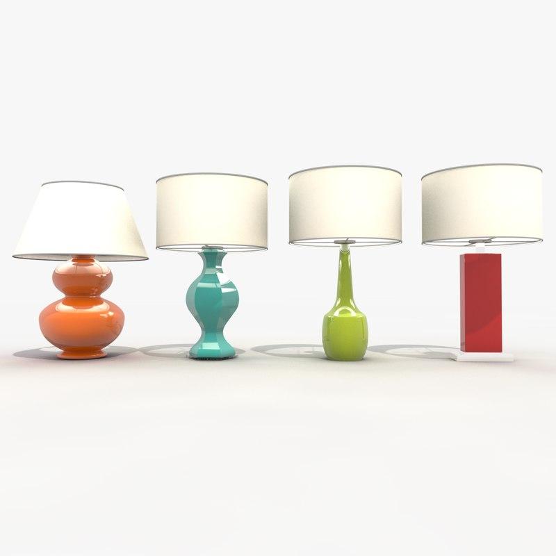 3d model pack table lamps light