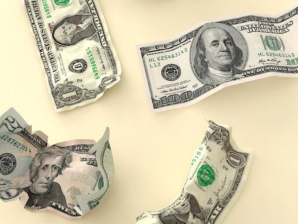 crumpled money 3d model
