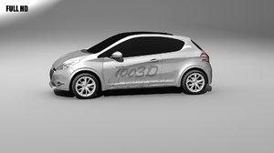 3d model peugeot 208 city car