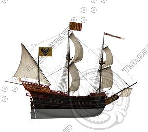 3d spanish galleon ship model