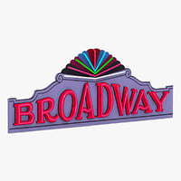 broadway theater sign 3d model