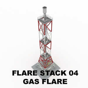 flare stack gas 04 3d model