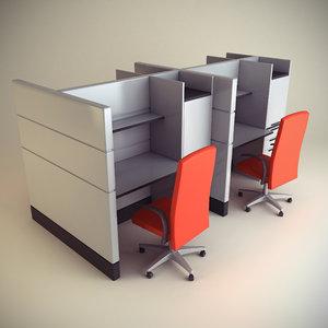 cubicle workstation 3d max