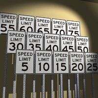 3d speed limit signs model