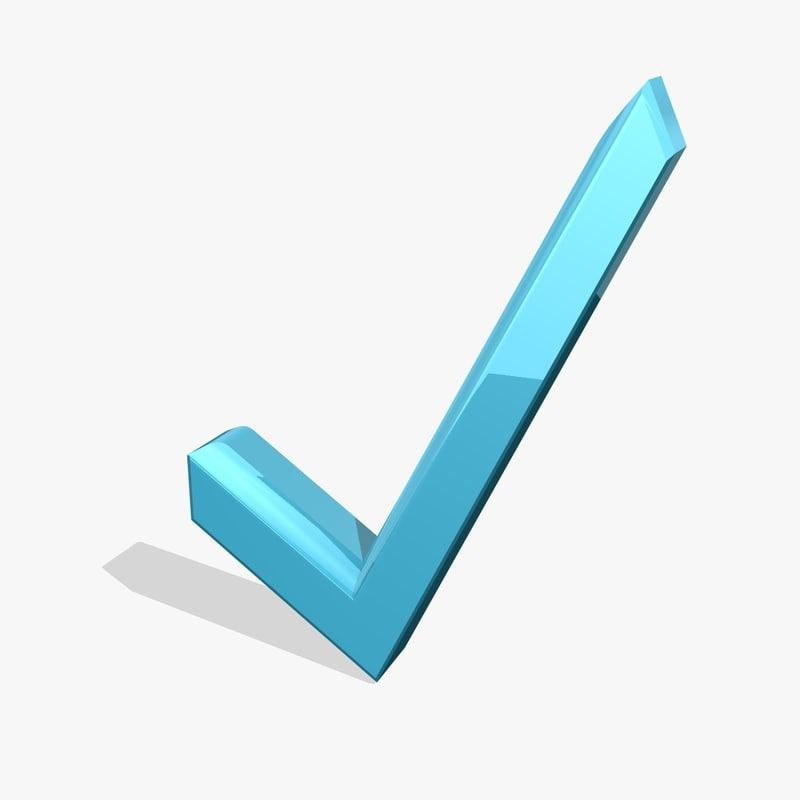blue check icon 3d obj