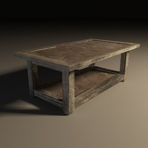 3d model wooden end table