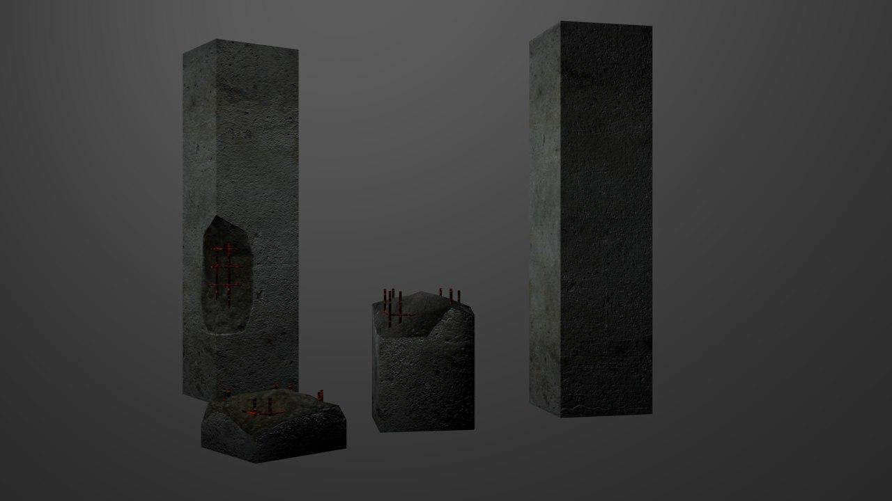 free concrete barrier 3d model