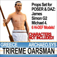 3d model props set daz greek trireme