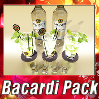 Bacardi Bottle, Mojito and Glass Shot collection
