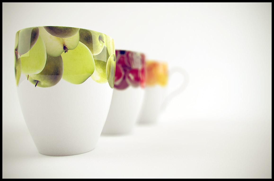 cups fruit 3d model