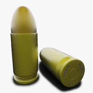 gun bullet 9mm para 3d lwo
