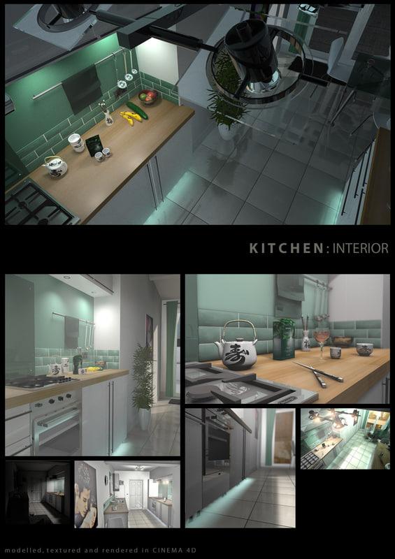 kitchen interior 3d c4d