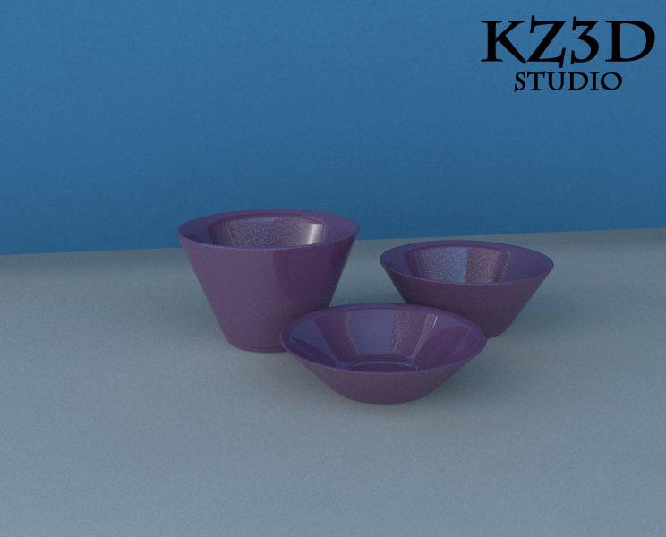 3 different purple bowl 3d max