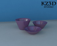 3 different purple bowl 3d max