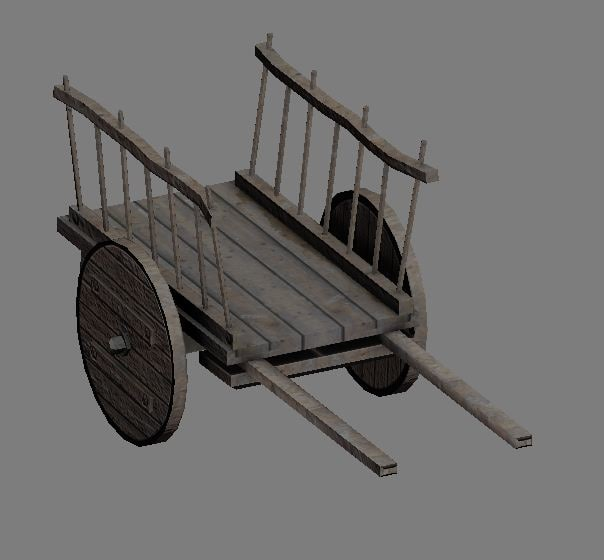 ready wooden cart 3ds