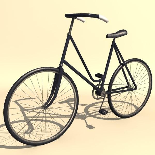 vintage ladies bicycle 3d model