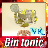 3d liquor glass gintonic model