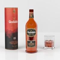 3d glenfiddich 15 whisky bottle model