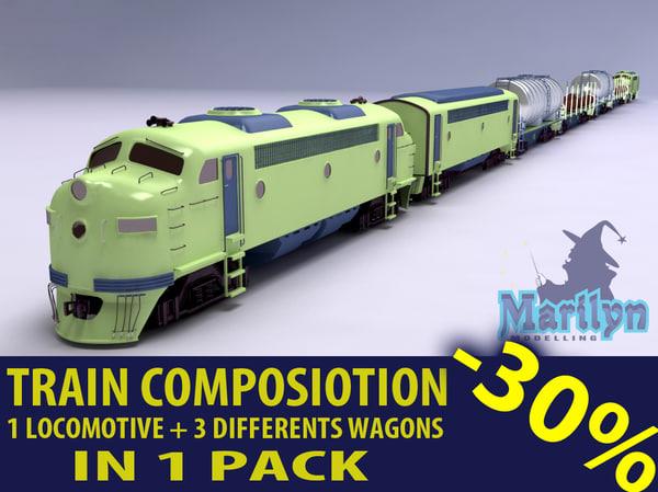cargo train composition 3d model