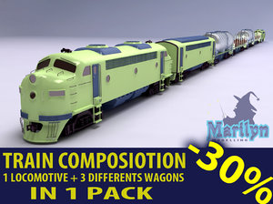 cargo train composition 3d model