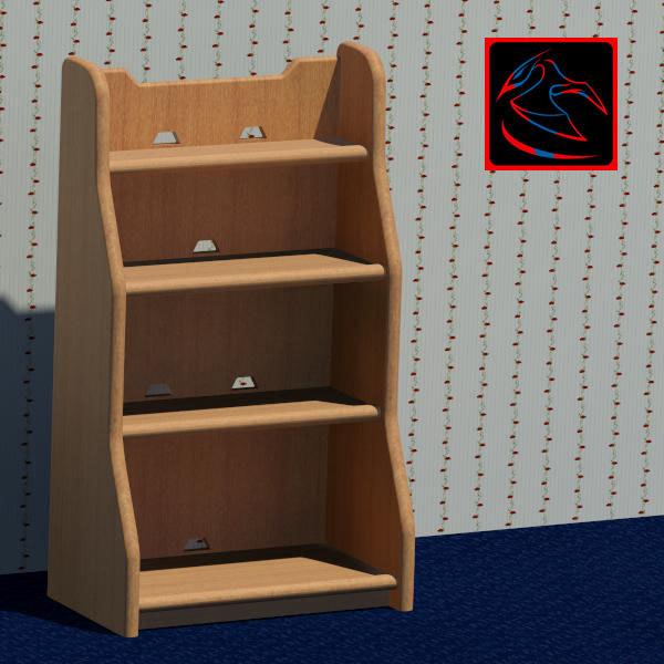 3d model decorative bookshelf books
