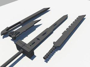 3d cloud buster sword model