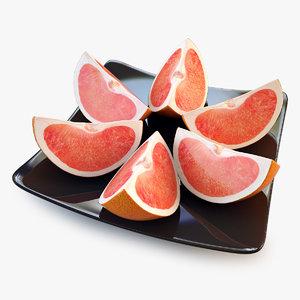 3d model grapefruit quarter orange