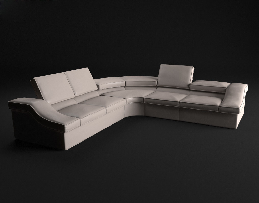 3d model leather sofa