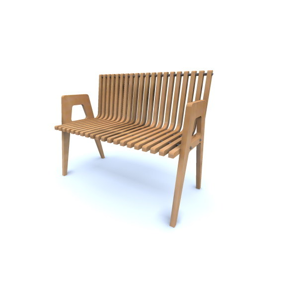 curved park bench 3ds
