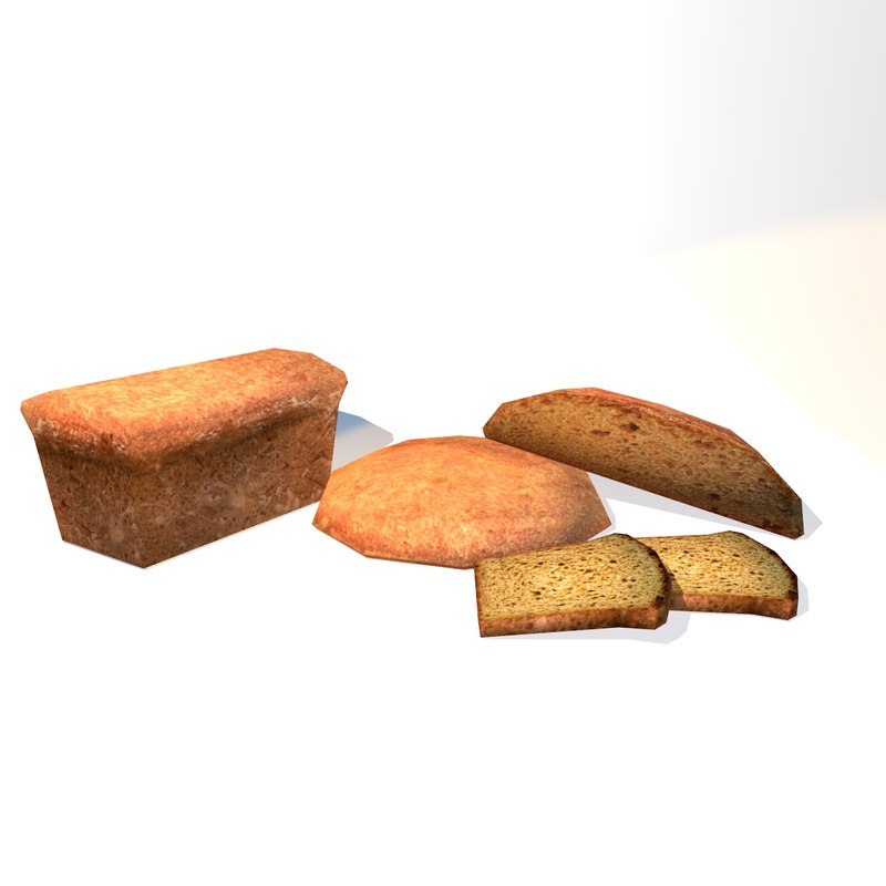 3d model breads loaf slice