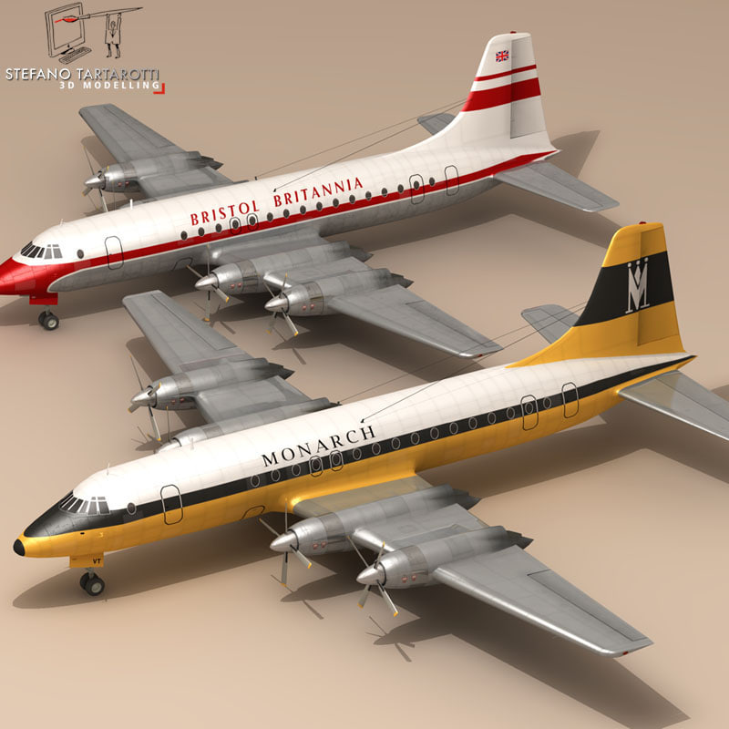 3d 3ds bristol britannia airplane
