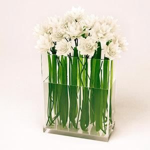 3ds max white flowers vase