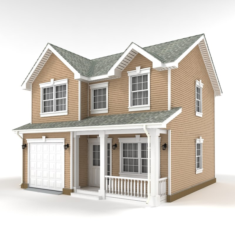 Two story cottage 3d max for Two story cottage