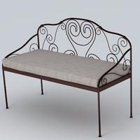 3d garden bench model
