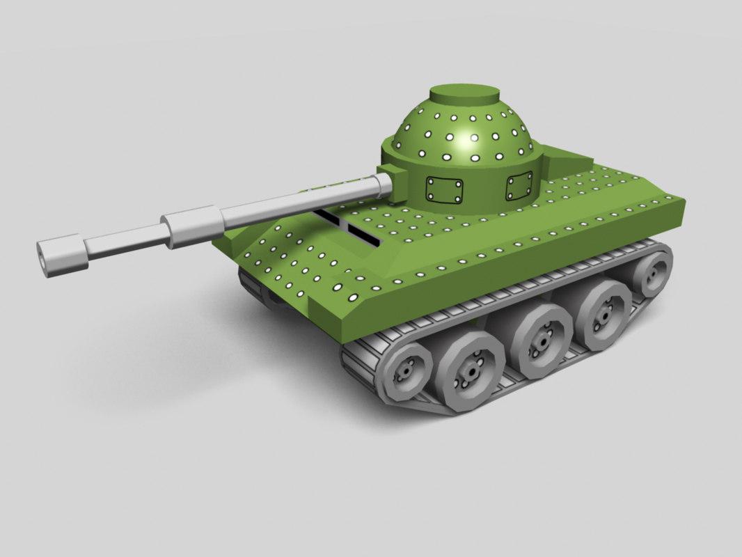 cartoon toy tank 3d model