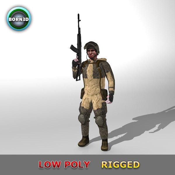 modern soldier obj