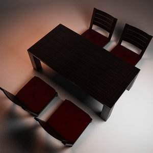 3d traditional table chairs model