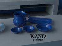 3d sets jug bowls model