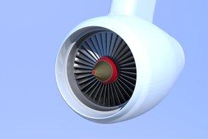 3d model of airplane jet engine