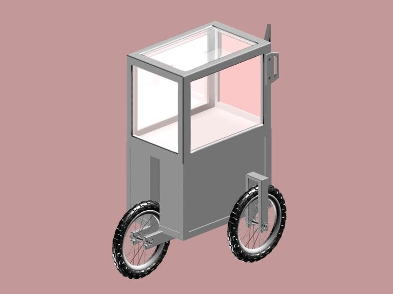 3d model cart push pushcart