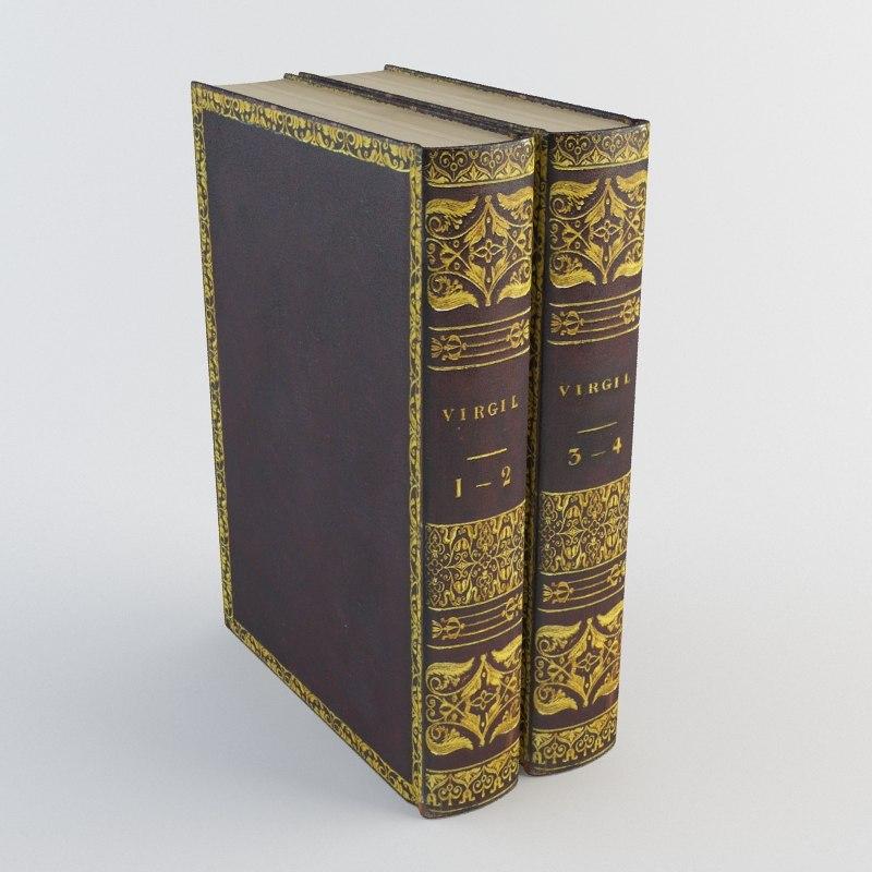 old books 2 3d model