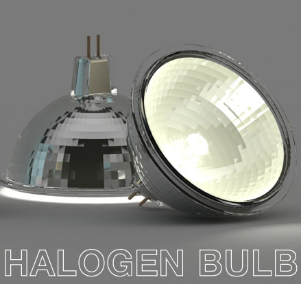 3d halogen lamp light bulb model