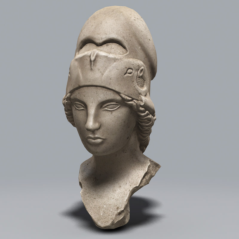marble bust athena 3d model