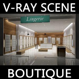 3d model of v-ray scene boutique lingerie
