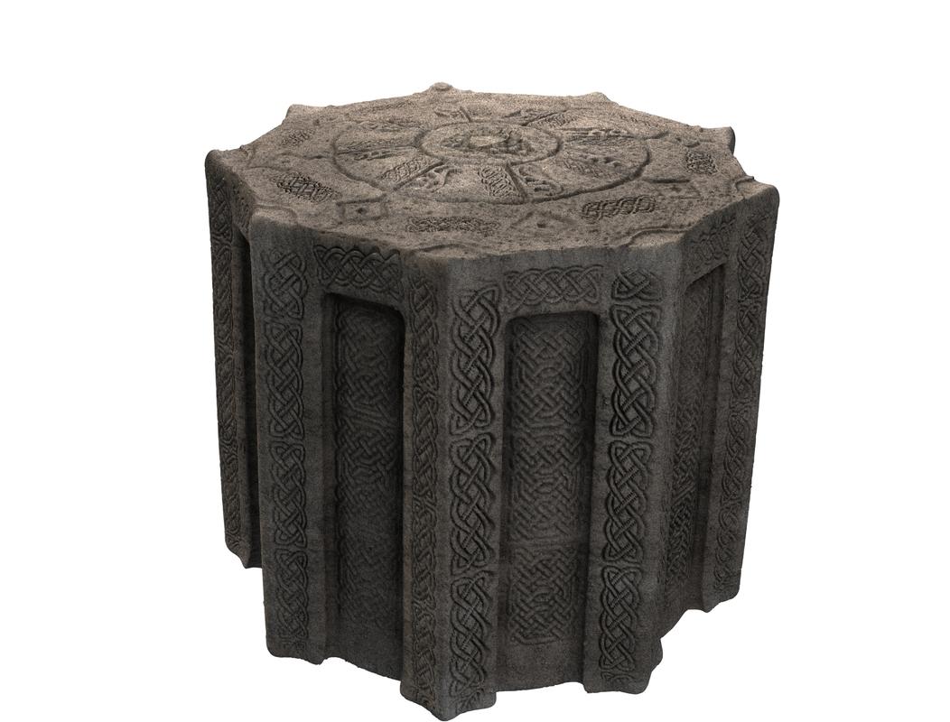 3d c4d ancient altar celtic