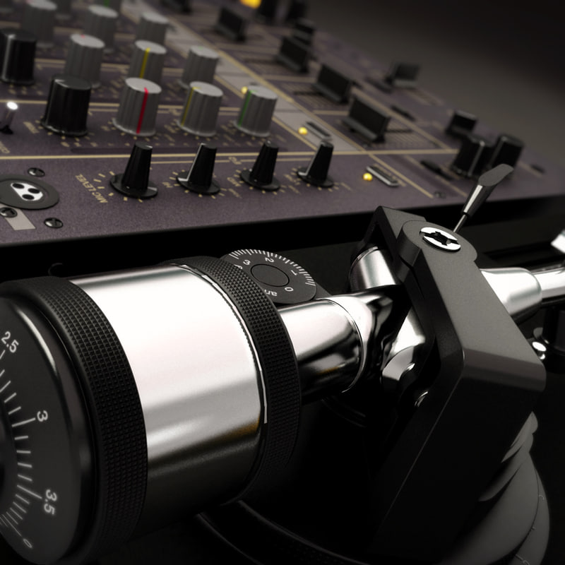 technics mk2 turntable pioneer 3d model
