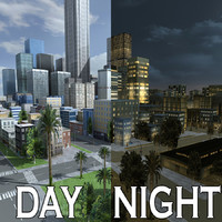 3d model city day night street