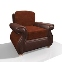 Leather and fabric chair 1A