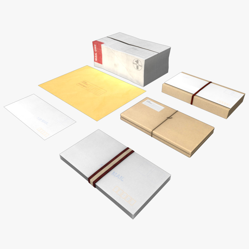 mail pack envelope package 3d obj