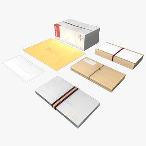 mail pack envelope package 3d obj